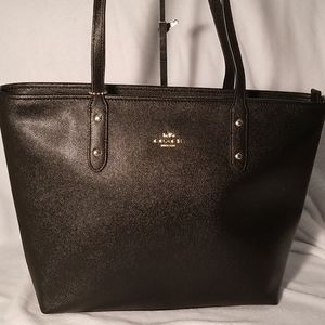 Coach black textured leather tote